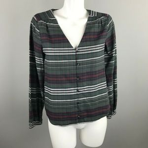 Madewell V Neck Button-Down Pineview Plaid Shirt